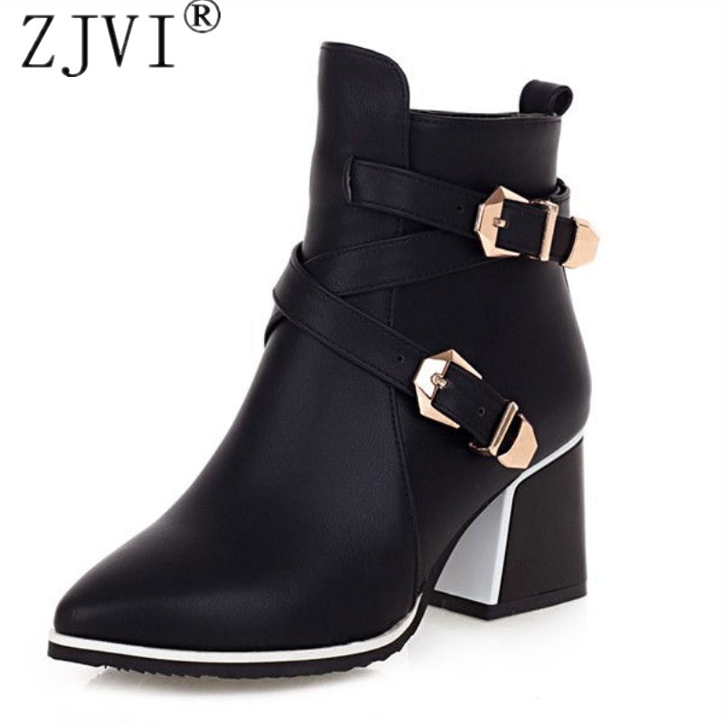 ZJVI women square heels Ankle boots womens female winter autumn boots Winter fashion pointed toe metal buckle black blue shoes<br>