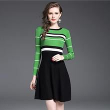 New Autumn Winter Women Striped Patchwork Knitted Sweater Dress Female Trend Clothing Ameircan Casual Work Office Dress Girls(China)