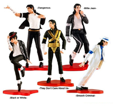 5pcs/lot 5 styles Anime MJ figure Michael Jackson of Classic toys Dancer & Dangerous  action mixed PVC Figure For chrismas Gift