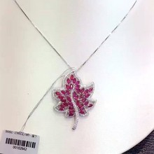 natural ruby pendants 18k white gold natural red gem leaves Pendants noble elegant fine jewelry for women send necklace(China)