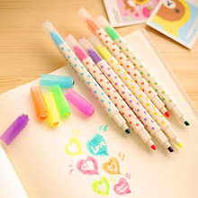 B35 6X Korean 2 Head Candy Color Erasable Highlighter School Office Supplies Stationery Watercolor Gel Pen
