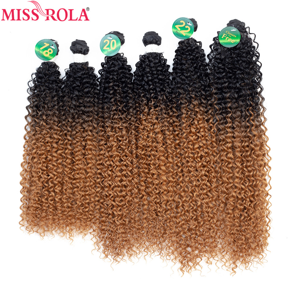 Hair-Bundles Weaves Closure Synthetic-Hair Kinky Curly Miss-Rola Ombre with 18- title=