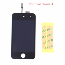Black LCD Display + Touch screen Digitizer Assembly + Adhesive For Apple iPod Touch 4 4G Free shipping !!!