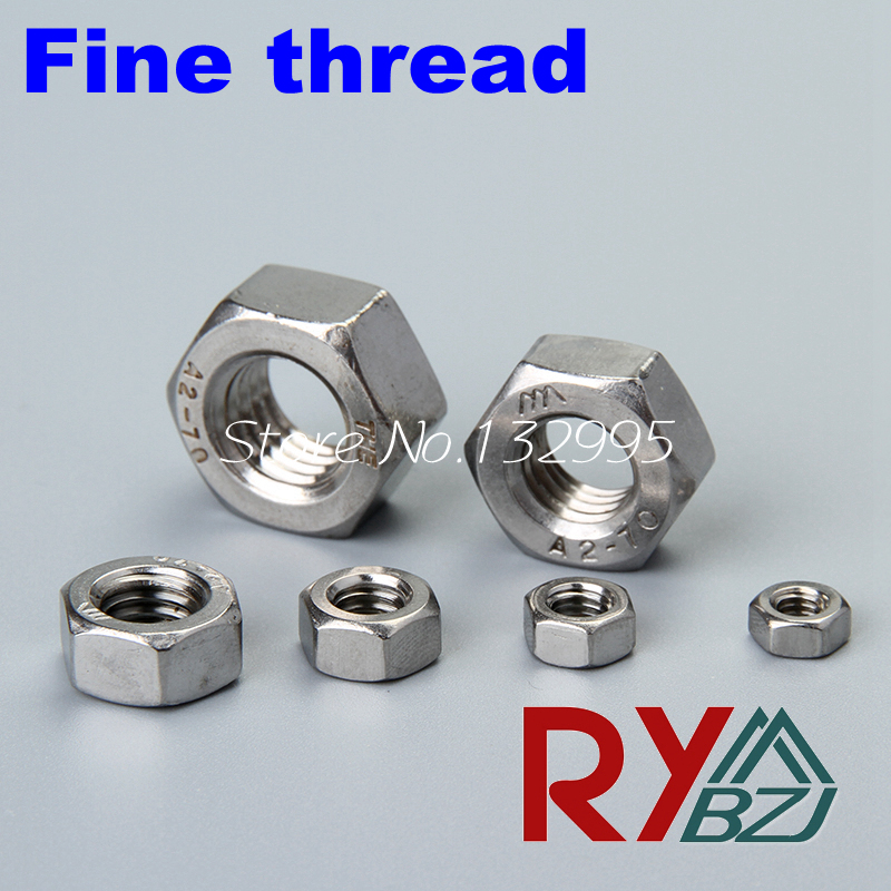 M6*0.75,M8*1.0,M10*1.0/1.25,M12*1.0/1.25/1.5,M14*1.5,M16*1.5,M18*1.5,M20*1.5  Fine thread hex nut Stainless steel A2 SUS 304<br><br>Aliexpress