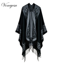Voneyesa 2017 New Design Women Poncho Shawl Women's Cashmere Printed Leopard Scarves &Capes High Quality Winter Scarf RO17054(China)