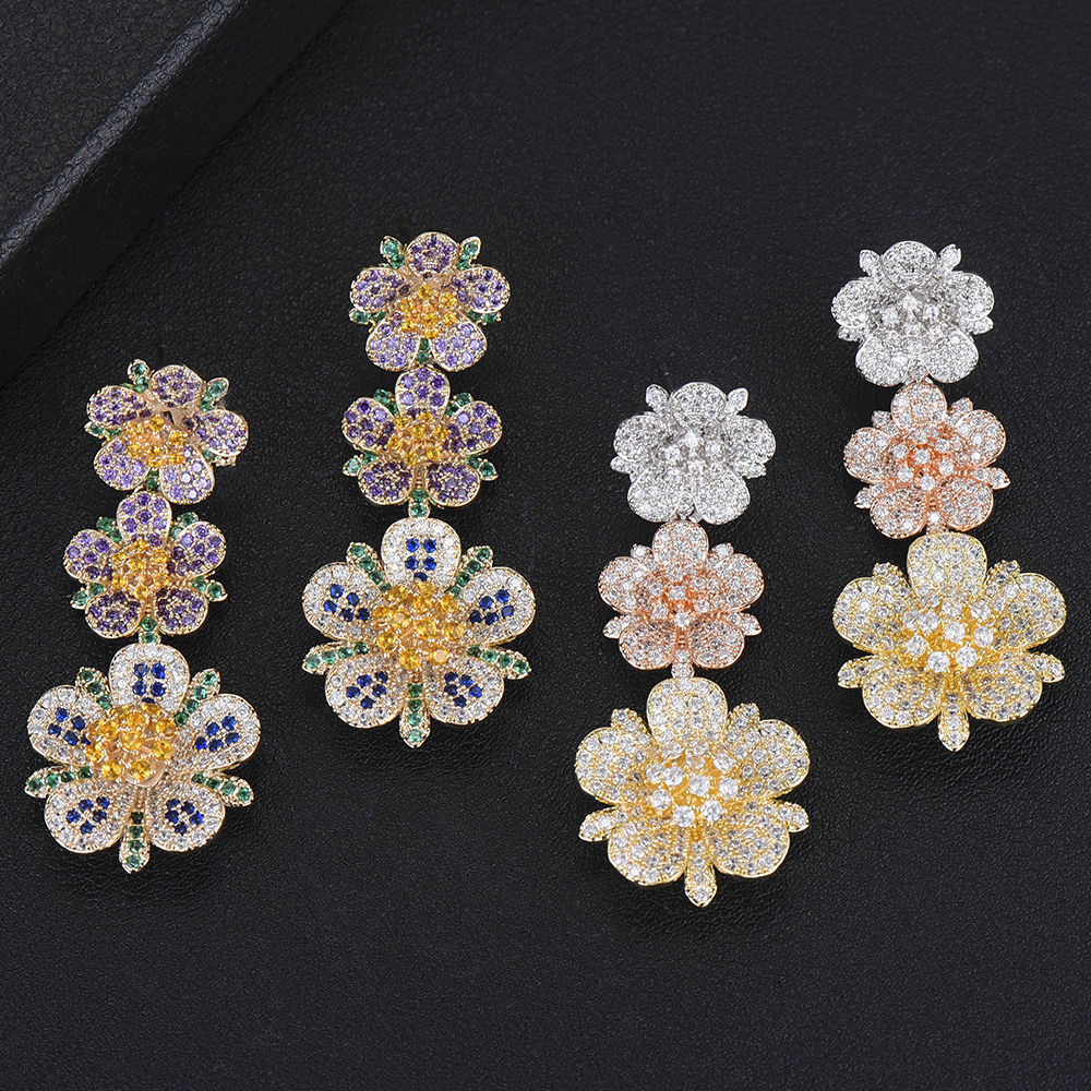 boucle d'oreille femme 2019 Blooming Flower Pendant Earrings Jewelry for Women Wedding Engagement Party Occasion Jewelry Gift