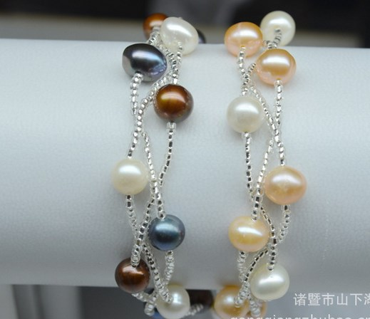 Wholesale Fashion Freshwater REAL Pearl Bracelet Bangle for Women/Lady/Girls/Female Beautiful Jewelry with MAGNETIC CLASPS