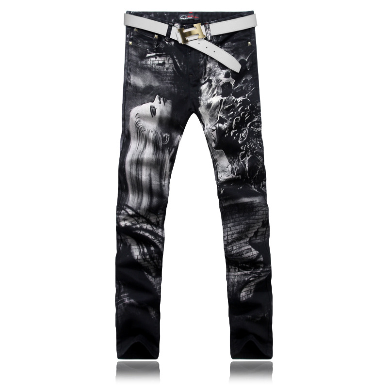 Original Design Fashion Male Black Straight Printed Jean Mens Denim Movie Characters Pattern Printed Jeans Free ShippingОдежда и ак�е��уары<br><br><br>Aliexpress