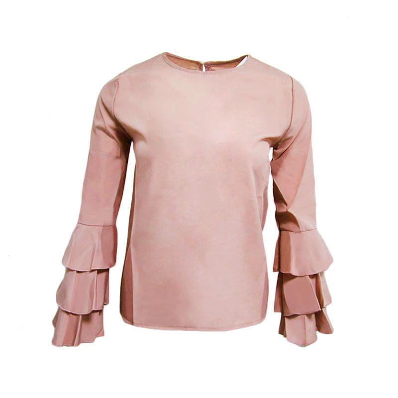 Avodovama M Women Summer 2017 NEW Stylish Blouses Long Sleeve Solid Colors Round Neck Bodycon Regular Butterfly Sleeve Shirts 13