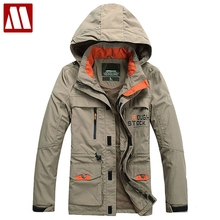 2017 Sping Autumn Men multi-pocket Jackets Windproof Coat Men Tourism Mountain Hooded Jackets Men's Fashion Coats Male Plus Size
