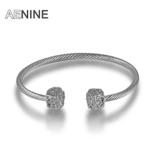 AENINE Vintage Wedding Bracelets & Bangles For Women Hollow Cube Spiral Bangle With Cubic Zirconia Pulseras Armbanden Jewelry