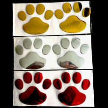 1 Pair Cool Design Paw Car Sticker 3D Animal Dog Cat Bear Foot Prints Footprint 3M Decal Car Stickers Silver GoldHigh Quality