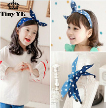 Polka dot Denim Hairband Bunny Headband Alice Hair Band Girl Kids Accessories Wide hair hoop