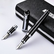 Germany duke - d2 d2 black silver clip iridium fountain pen calligraphy business office gift Bend nib double nib pimio(China)