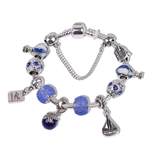 AIFEILI Style Authentic Tibetan Silver Color Blue Crystal Ferry Hot air balloon Charm Bracelet for Women Original DIY Beads