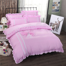 2017 New fashion high quality polyester cotton Pink Korean solid color Lace bedding sets twin full queen king size duvet cover