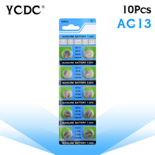 YCDC 3.28 Big Promotion 10Pcs/1card AG13 Button Cell Batteries Wholesale SR1154 SR44 LR44 357 1.55V A76 H Size 11.6*5mm