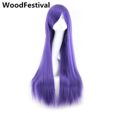 cosplay black long straight wig bangs white blonde pink red purple brown womens wigs synthetic hair heat resistant WoodFestival