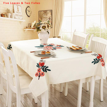 Hot Sale Tablecloths New Velvet Embroidery Flowers Thicker Cotton Linen Tablecloth Rectangular Round Table Cloth Table Cover