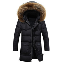 -25 Degree Temperature 2016 Winter Parka Men Cotton Padded Long Thick Warm Casual With Raccoon Dog Fur Collar Male Jacket Coat