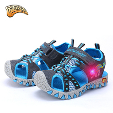 Dinoskulls Kids Children Beach Boys Shoes Sandals Summer 2017 Toddler Sandals Leather Shoes Dinosaur Glowing Sneakers 27-34(China)