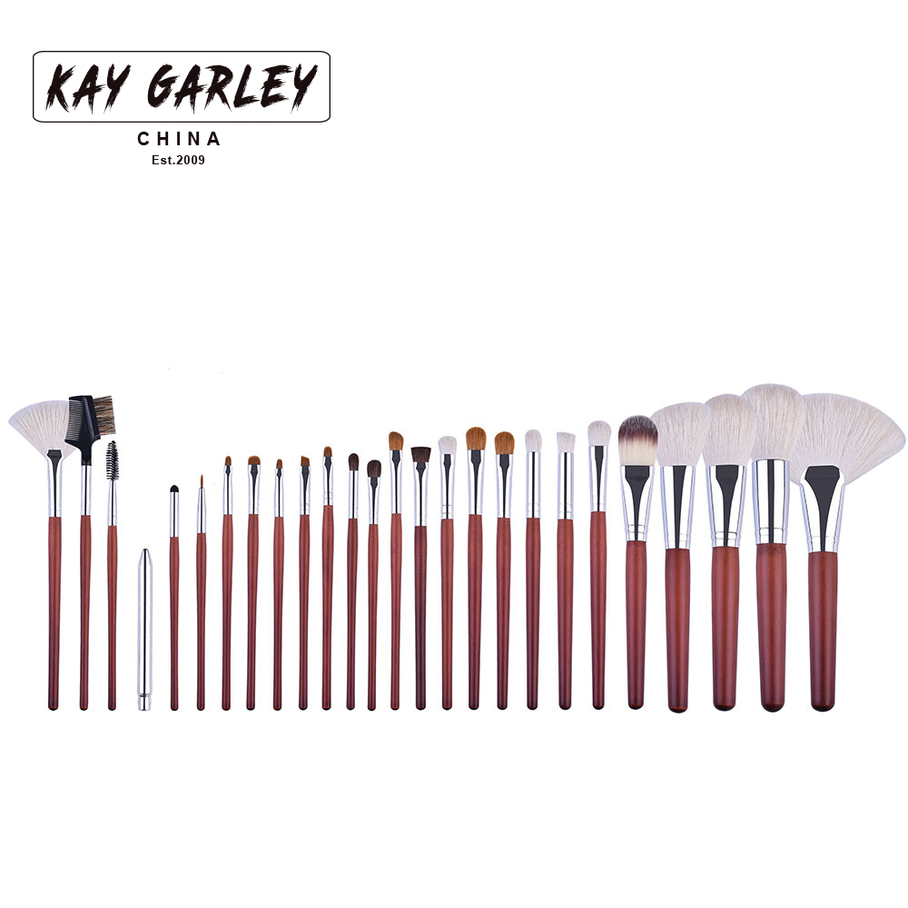 KAY GARLEY Makeup Brush Bag Set-26pcs animal Goat/Horse Hair Blush/Loose Powder/Foundation/Eyeshadow Brush<br>