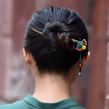 Fashion nature sandalwood vintage hairjewelry,colored stone Ethnic hairpins,Thailand fan wood hairjewelry(China)