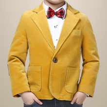 High quality boy blazer with fleece fabric cotton 80% solid yellow
