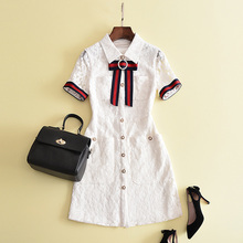 New 2017 Fall Fashion Classic Ribbon White Lace Elegant Office Dress High Quality Women Short Sleeve Casual Dresses Shirt Dress