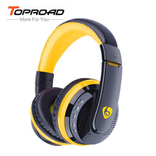 TOPROAD Bluetooh Headphones Over-ear Wireless Headset HD Stereo Earphone with Microphone Support TF FM Radio for Smart Phone(China)