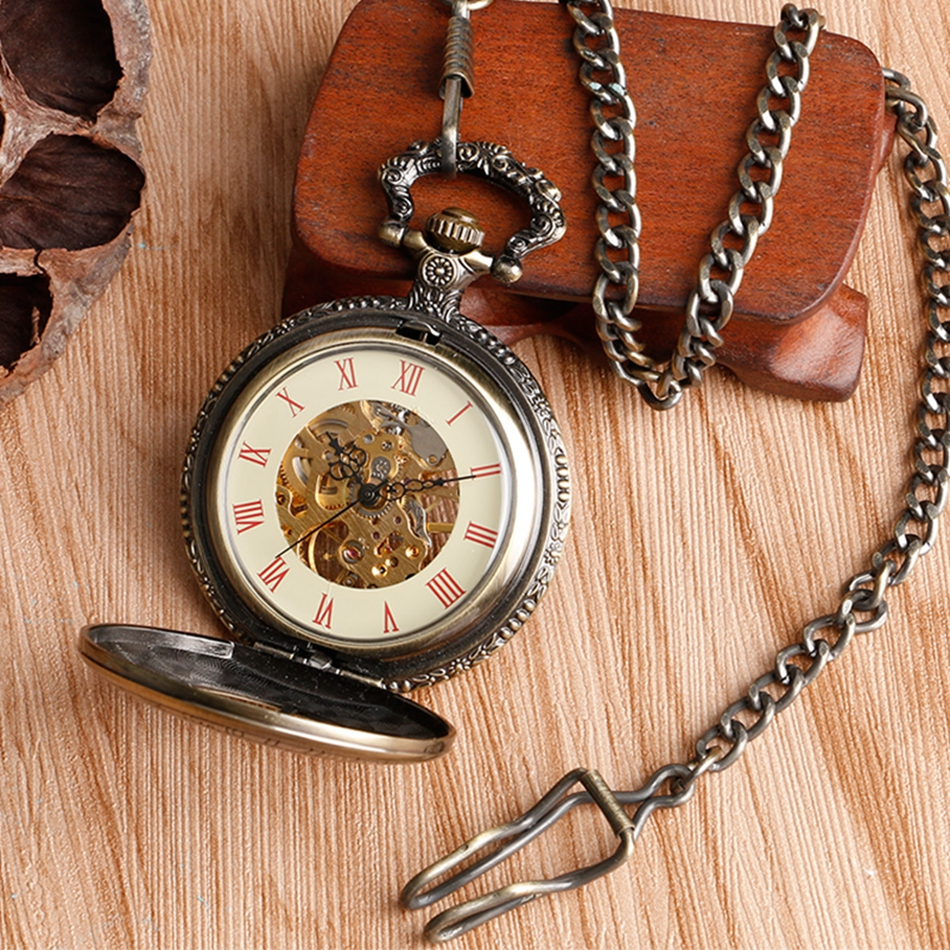 YISUYA Hollow Pendant Pocket Watch Men Prague Constellation Mechanical Hand Winding Copper Compass Women Christmas Xmas Gift (6)
