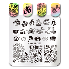 BORN PRETTY 1Pc Cake Afternoon Tea Design Stamping Plate DIY Nail Stencils Square Nail Art Stamp Template 6*6cm Plate BP-X23