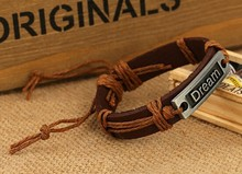 Free Ship Adjustable unisex mixed real leather bracelet men' bracelets women bracelets Hand woven bracelet