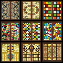 Custom No glue electrostatic scrubs translucent church stained glass windows and doors wardrobe furniture foil stickers 35x120cm(China)
