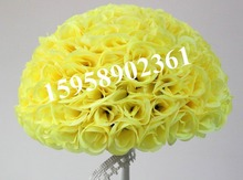 40cm*4 pcs Rose kissing ball artificial silk flower wedding decoration yellow color