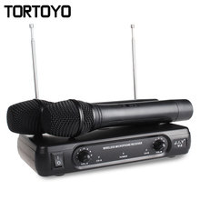 A Pair Professional HIFI Wireless Handheld Microphone Karaoke Home KTV Conference Microphones Megaphone+Receiver for PC Speaker