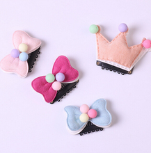 Free Shipping 2017 Children cute mini bow Hair Pin baby girl's lovely BB Clip crown Hairpins Hair Side Clips(China)