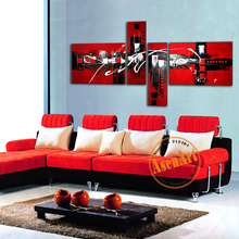 100% Handpainted Abstract Oil Painting on Canvas 4pcs Canvas Black Red Painting City Landscape Painting for Living Room No Frame