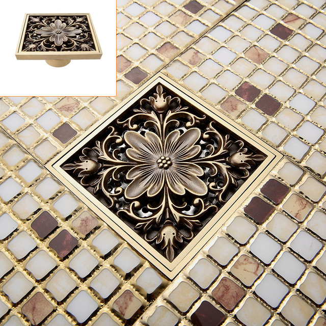 Free Shipping ! Antique Brass Art Carved Flower Floor Drain Bathroom Shower Square Drain Strainer Wholesale &amp; Retail<br><br>Aliexpress