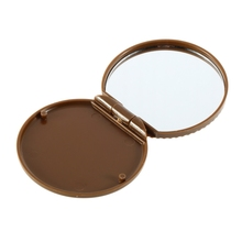 Hot Selling 1pcs fashion ght Brown Cute Cookie Shaped Design Mirror Makeup Chocolate Comb