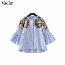 Vadim women elegant floral embroidery striped jacket coat pockets zipper flare sleeve coats ladies casual outwear tops CT1475(China)