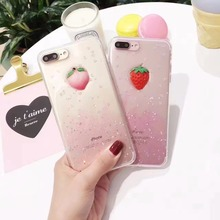 Zxtrby Cute Glitter Powder Strawberry Peach Phone Case For iphone 6 6S Plus 7 7Plus Soft TPU Transparent Back Cover Capa Bag