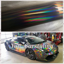 High quality BLACK Chrome holographic & Laser Rainbow Chrome Vinyl Car Wrap Film With Air bubbles free  Covering Foil 1.52x20m
