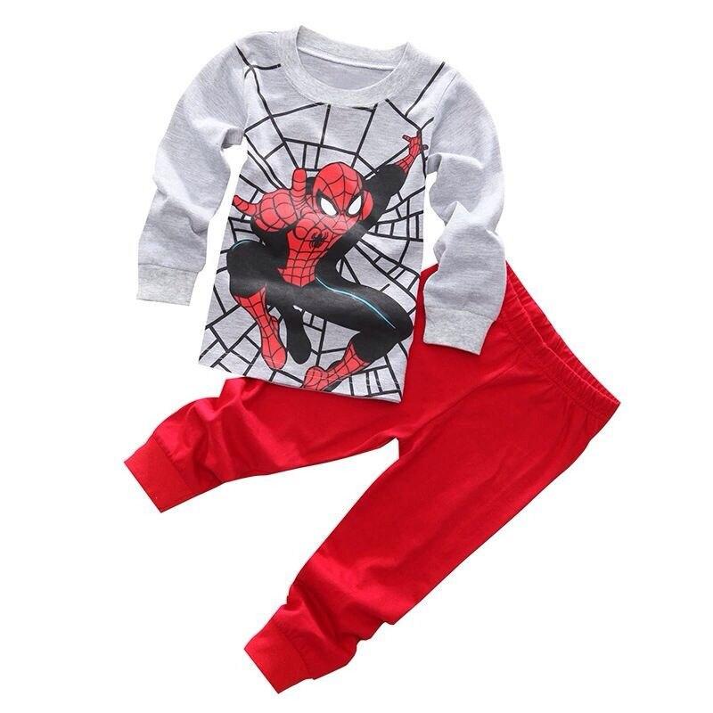 2016 New  Arrival Baby Boys Kids 2 Pecs Cartoon  Set Spider/ Iron man Nightwear Sleepwear Pajamas set 3 styles <br><br>Aliexpress