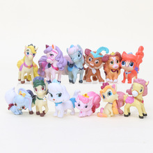 12pcs/lot 4-6CM Palace Pets horse PVC Action Figures Princess Pet unicorn Cats Dogs Figures Kids Toys for Boys Girls(China)