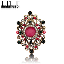 Large Crystal Vintage brooch for women Jewelry Wedding colorful big Brooches Bouquet Corsage  Mixed Flower Hijab Pin
