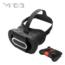 RITECH VRGO New VR 3D Box Virtual Reality Glasses HD Vision Black for 4.7-6.0 Inch Smartphones + Bluetooth Wireless Gamepad