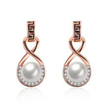 Lucky 8 shape Elegant Pearl Earrings 18Kgp real Rose Gold colour with Stellux Austrian Crystals G Element Circel Stud Earrings