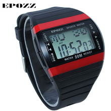 Epozz MEN'S Sport Digital Watch Simple Fashion style Student Watches 50m waterproof Alarm Clock rubber strap For Men watch 1301(China)