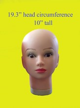 "PVC rubber mannequin head 10"" tall 19.3"" head circumference display wig/necklace/cap/hat GT1(China)"